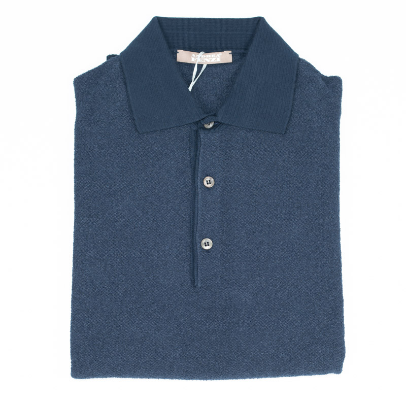 ANDREA FENZI | アンドレアフェンツィ イタリア製 送料無料 カジュアル 紺 半袖 無地 パイル パイル地 両面極上パイル ネイビー ポロシャツ メンズ カットソー