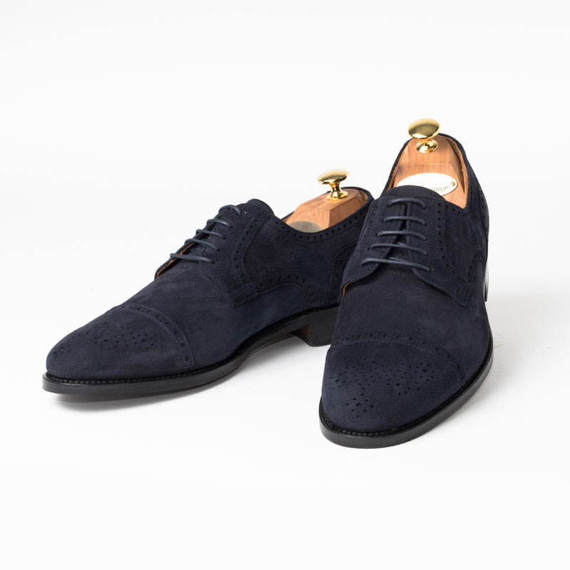 Cordwainer | コードウェイナー KANE ビジネスシューズ ビジネス 小さいサイズ 大きいサイズ 本革 皮靴 靴 内羽根 通気性 送料無料 交換無料 グッドイヤーウェルト 紺 ネイビー スエード パンチング カーフスエード×レザーソール セミブローグ メンズ ストレートチップ