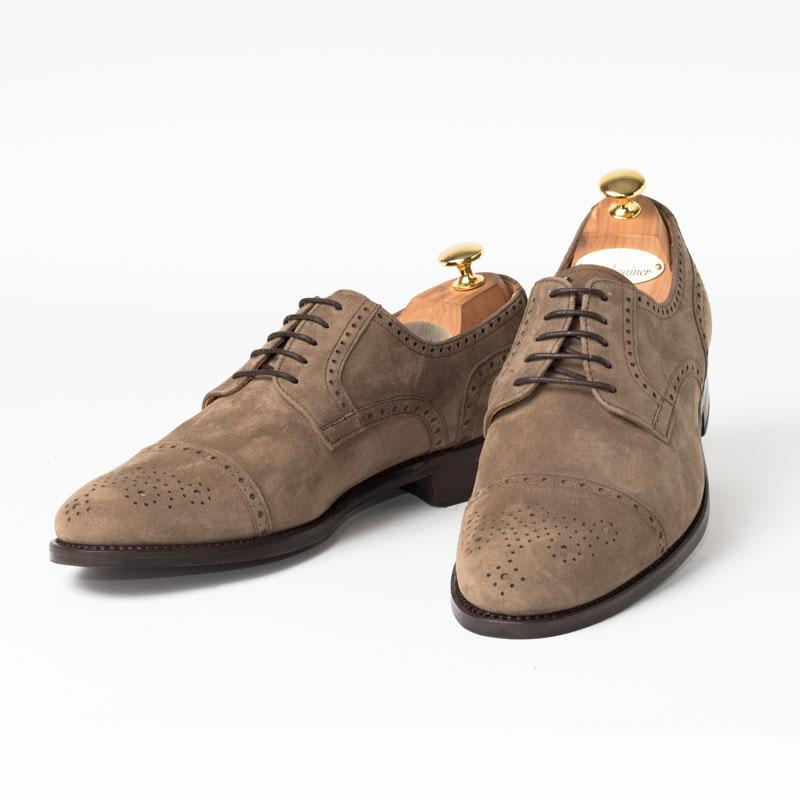 Cordwainer | コードウェイナー KANE ビジネスシューズ ビジネス 小さいサイズ 大きいサイズ 本革 皮靴 靴 内羽根 通気性 送料無料 交換無料 グッドイヤーウェルト ベージュ スエード パンチング カーフスエード×レザーソール セミブローグ メンズ ストレートチップ