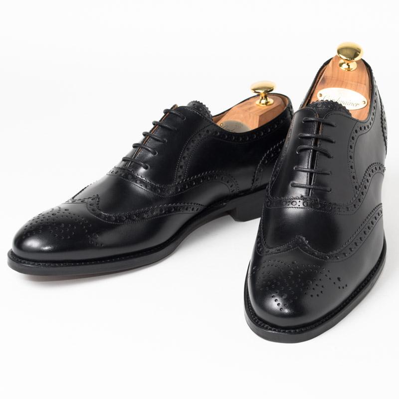Cordwainer | コードウェイナー STRAND ビジネスシューズ ビジネス 小さいサイズ 大きいサイズ 本革 皮靴 靴 通気性 内羽根 送料無料 交換無料 インポート レザーソール グッドイヤーウェルト ブラックカーフレザー×レザーソール フルブローグ メンズ ウイングチップ