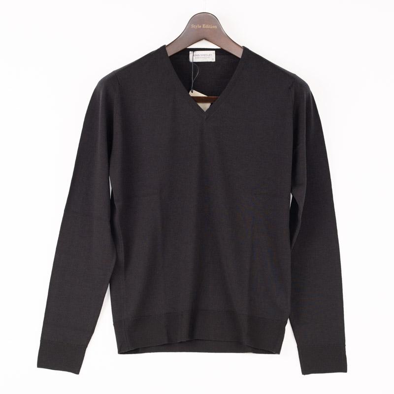 JOHN SMEDLEY | ジョン スメドレー 送料無料 長袖 黒 ウール ウール100% セーター イギリス イギリス製 ニット ウール 30ゲージ ブラック Vネック メンズ ニット