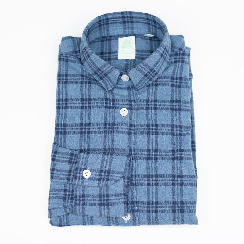 FINAMORE | フィナモレ 送料無料 長袖 カジュアル 青 衿型GIULIA ブルー×ネイビー チェック レディース シャツ