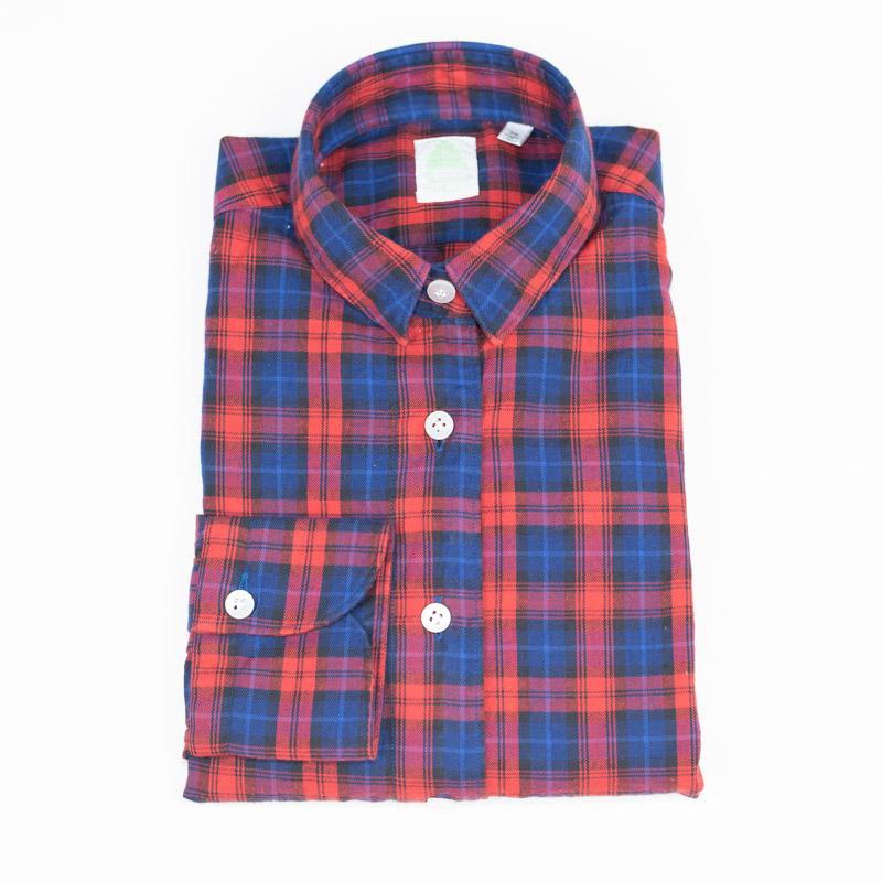 FINAMORE | フィナモレ 送料無料 長袖 カジュアル 赤 紺 衿型GIULIA レッド×ネイビー チェック レディース シャツ
