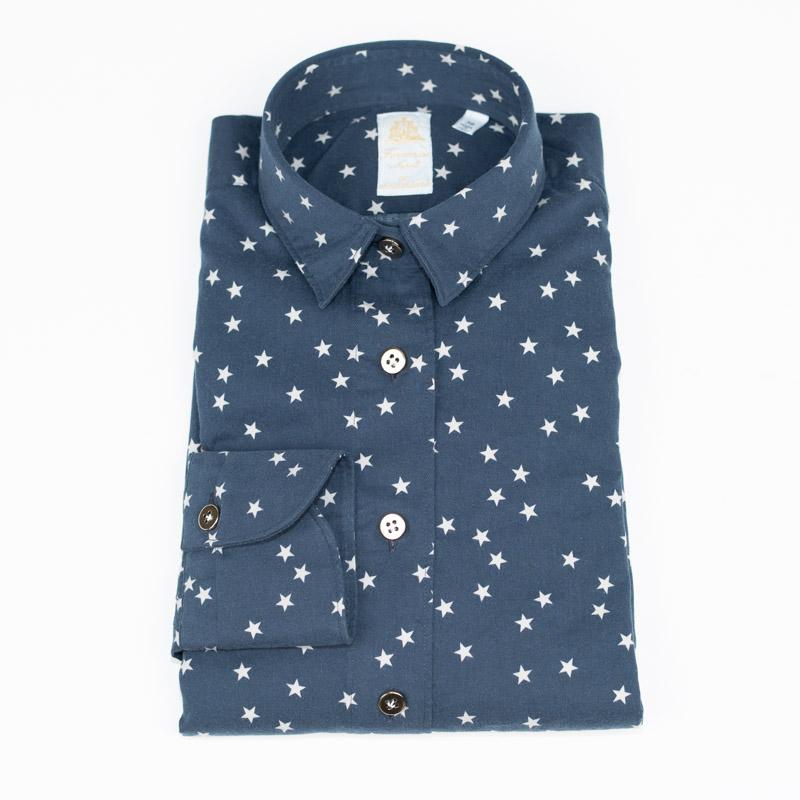 FINAMORE | フィナモレ 送料無料 紺 星 長袖 ネイビー カジュアル 衿型GIULIA コットンツイル スタープリント レディース シャツ