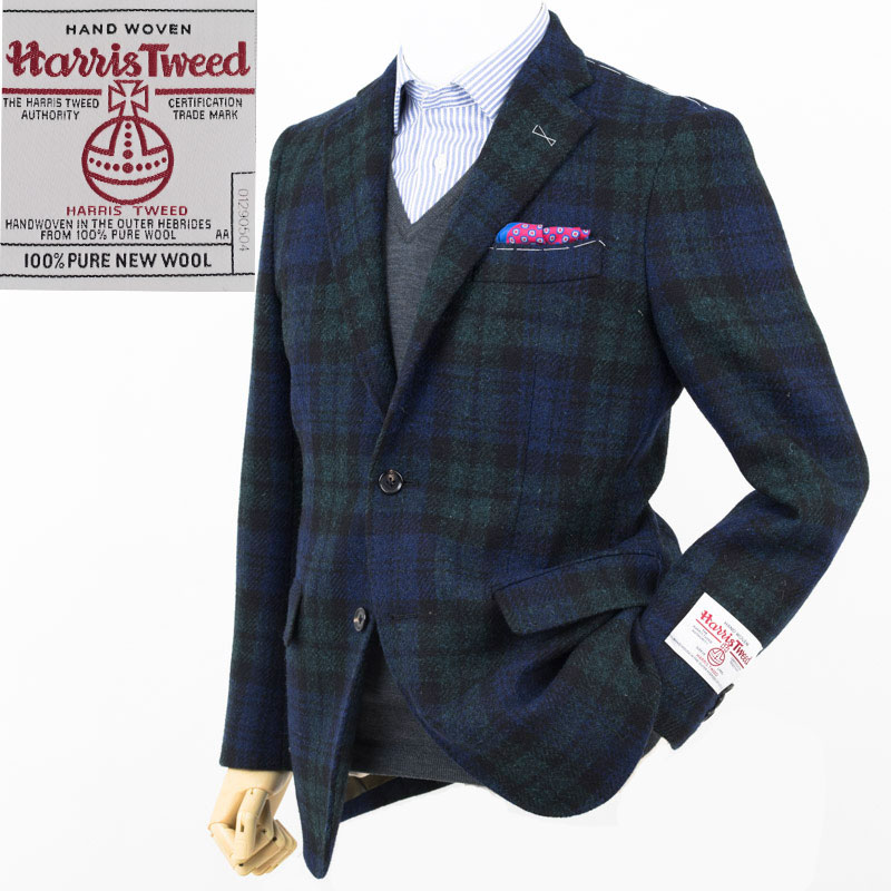 07764de9 Style Edition | Style edition Harris Tweed Harris Tweed Black Watch 2  button jacket ...