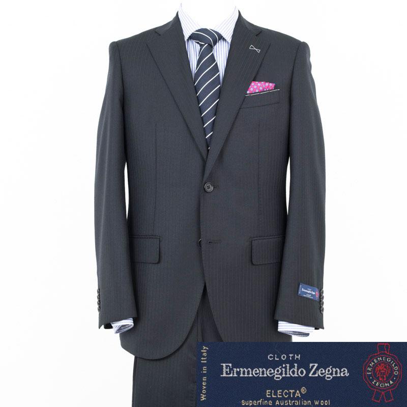 Style Edition スタイルエディション Ermenegildo Zegna エルメネジルド ゼニア ELECTA 8mm幅 シャドウストライプ BLACK 2ボタンノータック スーツ