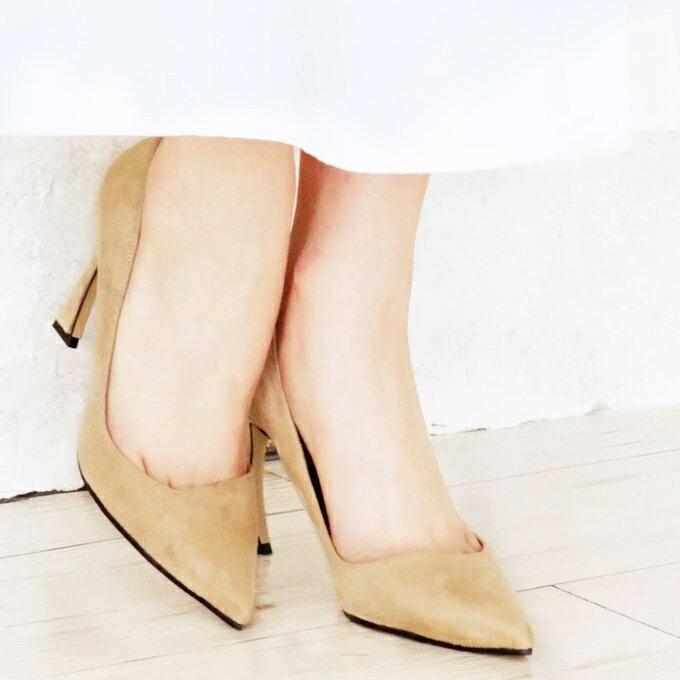 「forme」 (ベージュ)脚をキレイに魅せる。拘り楽ちんパンプス 送料無料【F170504】□□