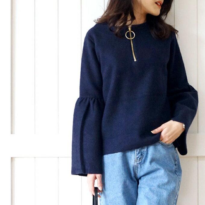 「styleluxe」(ネイビー)リングジッパーのつぼみ袖トップス【F170129】【S171224】送料無料