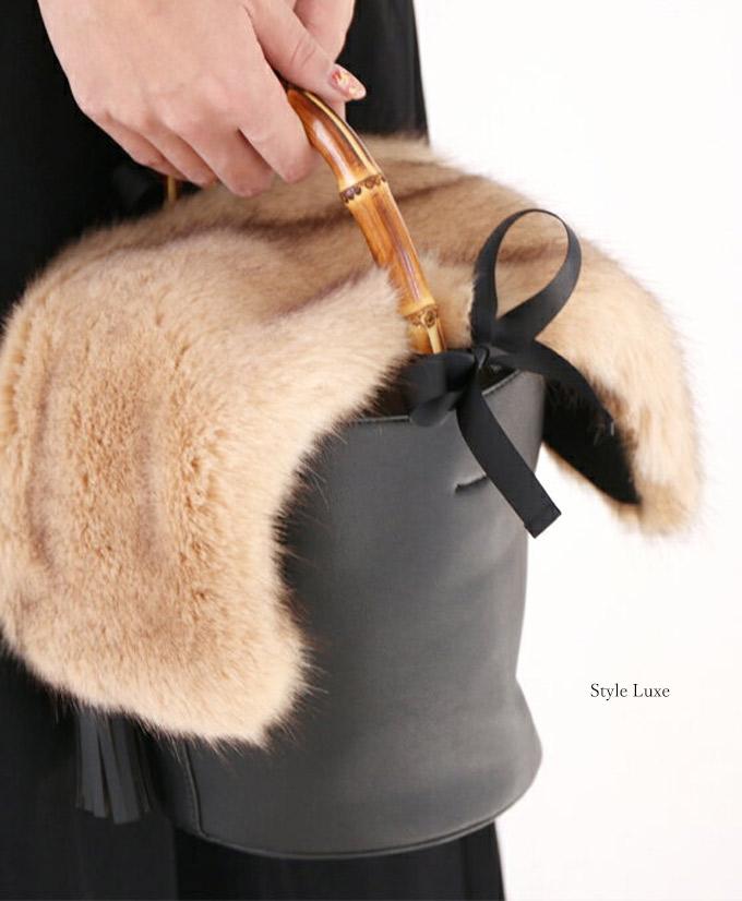 「styleluxe」リュクスファー付きバケットバックを取り入れて。【F171111】【S171224】ママ/ママコーデ/ファー/バッグ