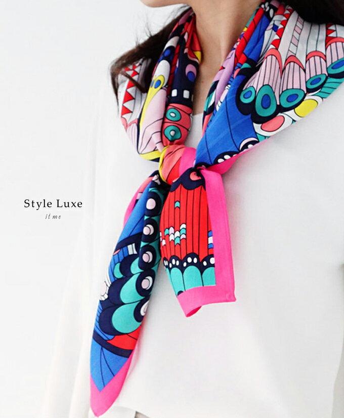 「styleluxe」色彩豊かな差し色が素敵。大人のシルクスカーフ【再入荷♪2月2日20時より】【F170326】【S200202】正方形 大判 スカーフ ストール レディース 柄送料無料