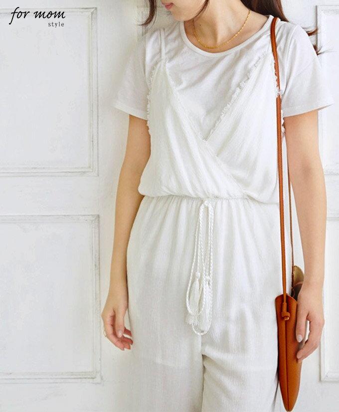 「forme」(ホワイト)大人カジュアルな装いに。リネン混フリンジオールインワン【F160612】【S170720】□□