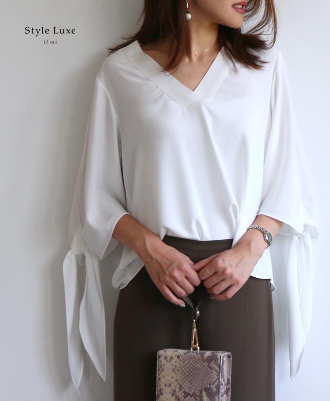 (ミント ホワイト)異素材ネックラインで美しく映える。袖リボンブラウス「styleluxe」リボン 七分袖 フリーサイズ ファッション レディース グリーン ブルー 白 リボン【F180811】【S190503】送料無料