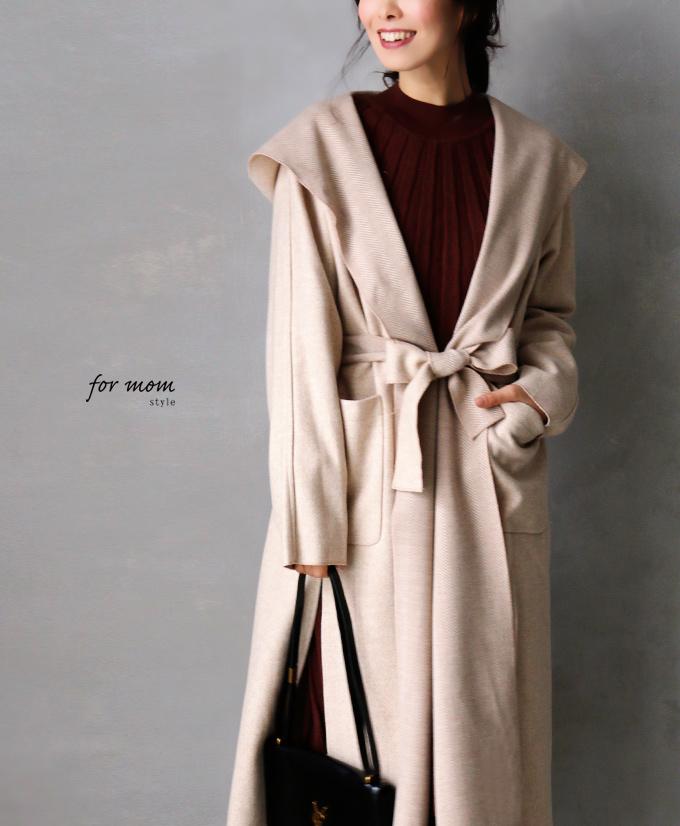 女性らしい印象のフードデザインアウターコート「forme」【再入荷♪1月17日20時より】コート アウター ヘリンボーン ロングコート フード レディース フリーサイズ style【F181110】【S200117】送料無料