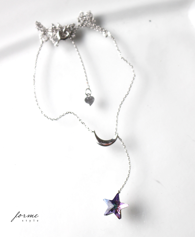 e9f649a7fc12a It is remainder only ** necklace SILVER925 star moon crystal silver  Swarovski paradise shine accessories Lady's style from star motif SILVER925  ...