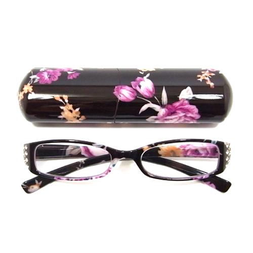 老眼鏡 女性 おしゃれ 男女兼用LUXE エレガント スクエア ビジューライン フラワー (ブラック) 眼鏡ケース付き 度数 1.0 1.5 2.0 2.5 3.0 3.5 ブランド Bayline ベイライン