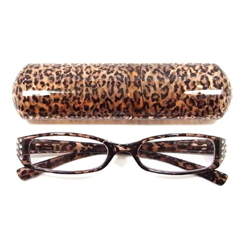 老眼鏡 女性 おしゃれ 男女兼用 LUXE エレガント スクエア ビジューライン クリアヒョウ (ブラウン) 眼鏡ケース付き 度数 1.0 1.5 2.0 2.5 3.0 ブランド Bayline ベイライン