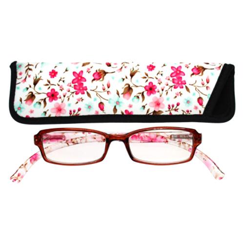 老眼鏡 おしゃれ 男女兼用 軽量 ネックリーダーズ 首かけ ブルーライトカット 眼鏡ケース付き スタンダードスモールフラワー(クリアピンク) 度数 1.0 1.5 2.0 2.5 3.0 3.5 ブランド Bayline ベイライン