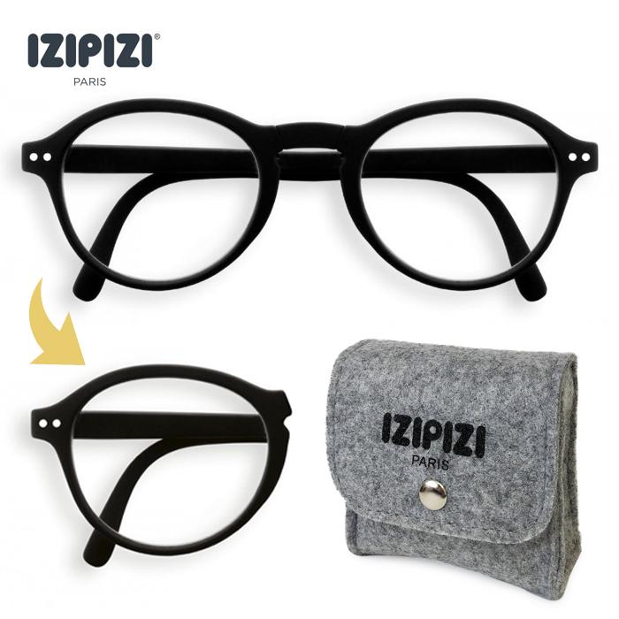 IZIPIZI イジピジ #F BLACK 折りたたみ リーディンググラス 老眼鏡  眼鏡  めがね メガネ 度あり コンパクト ケース付き