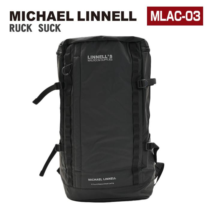 MICHAEL LINNELL リュック MLAC-03 41L 大容量 リュックサック デイパック バックパック スクエア メンズ レディース 男女兼用 黒リュック