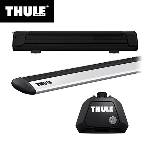 【送料無料※沖縄除く】THULE(スーリー) VW シャラン専用ベースキャリア(フット7104+ウイングバー EVO7113)+スキーキャリア スノーパック エクステンダー7325B 2010~ 7N#