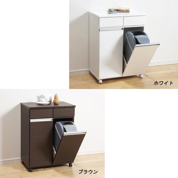 【代引不可】ダイニングダストボックス2D ホワイト/ ゴミの分別に最適!収納付きゴミ箱