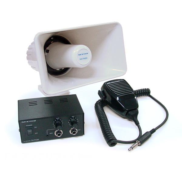 車載用拡声器 NX-PA20 PAアンプリファイヤー アンプ/スピーカー/マイクのセット/選挙/移動販売/広報などに/日本製/外部入力端子【あす楽15時まで】