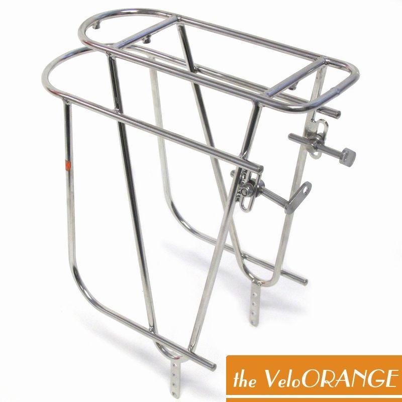 Velo Orange(ヴェロオレンジ) キャンパーリアラック。ツーリングに最適なステンレススチール製の頑丈なバイク用リアキャリア。低重心でバッグの装着脱着がしやすい優れた形状。バイシクル 自転車