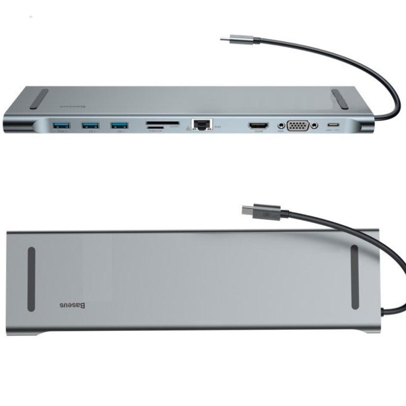Macbook用USB-Cハブアダプター。USB3.0×3口に加えSD, micro SDカードスロット, HDMI, VGA, LANすべて備わるドック型万能タイプハブ アップル Apple USB-Type C