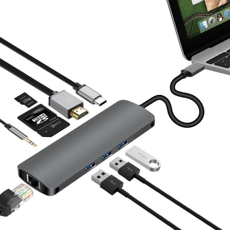 USB-Cハブ USB 3.0が3口, HDMI, 有線LAN, SDカード/MicroSDスロットにイヤフォンジャックまでついた万能タイプ。アップルMacbookやノートPCに。Apple USB-Type C USB C