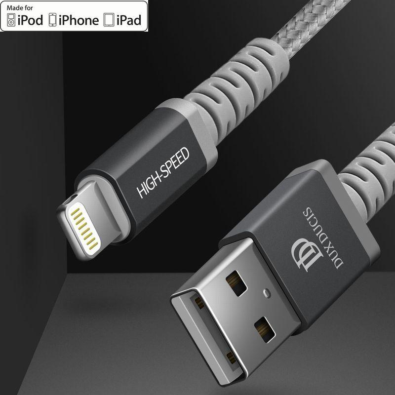 お買い得品 アップル MFi認証済アイフォン充電Lightningケーブル 1m 数量は多 コネクター部は丈夫で破損しづらい いつもバッグに携帯したい 開店祝い 車内利用にも ダークグレーがかっこいいコネクター部が頑丈で破損しづらい高速充電Lightningケーブル ライトニングケーブル iPhone充電 MFi認証 Apple認証 1メートルメッシュタイプ2.4A アップル充電ケーブル