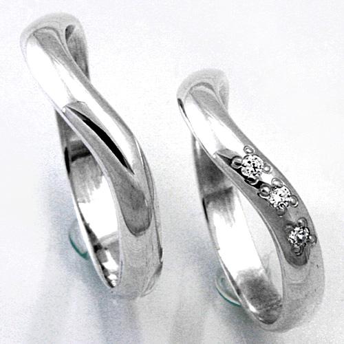 【2本セット価格 プラチナ900】 女性用に3石のダイヤモンド プラチナPt900ダイヤモンドペア・マリッジリング2本セット UD-3 【STYLERINGオリジナル結婚指輪】【楽ギフ_名入れ】