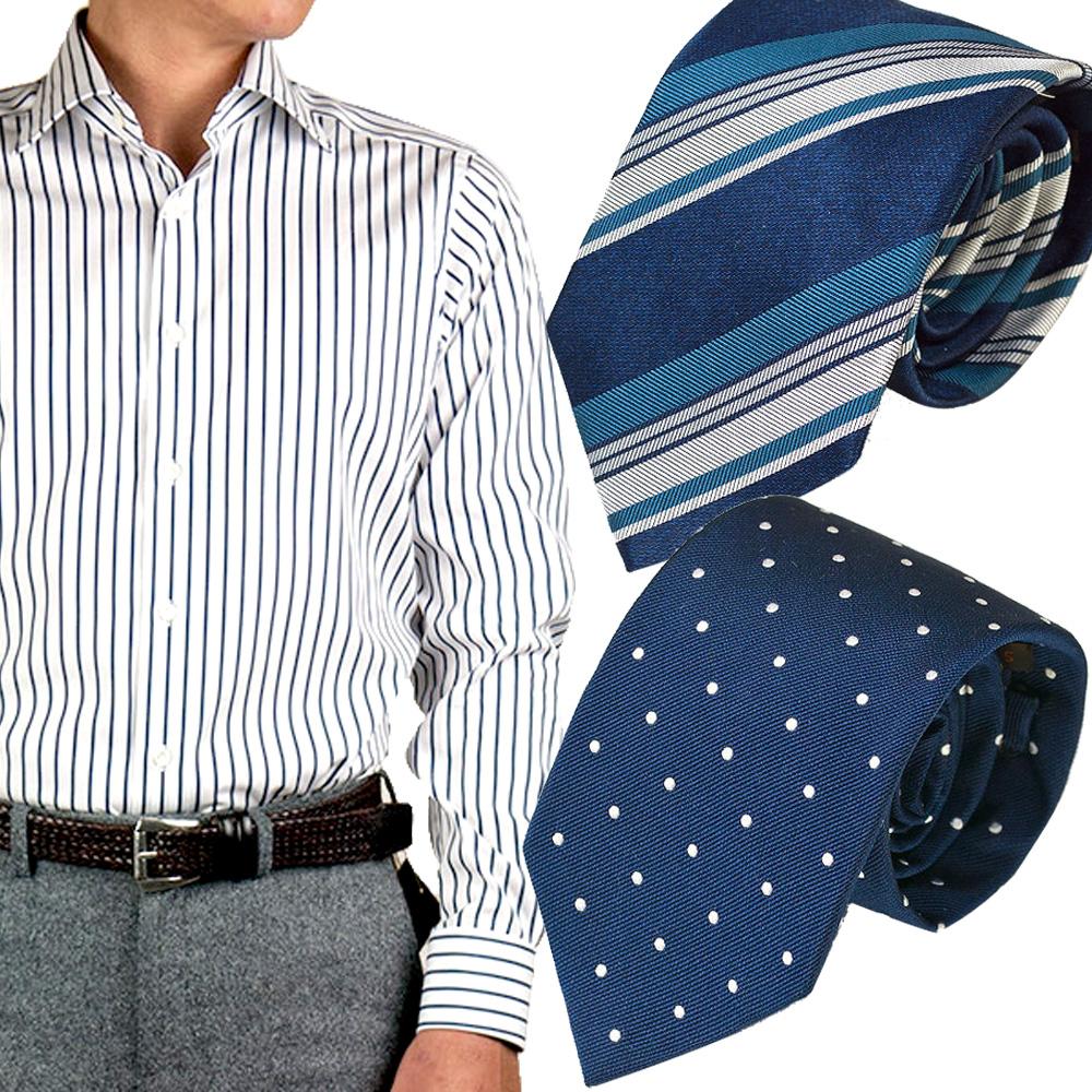 ドレスシャツ ワイシャツ シャツ メンズ 国産 オリジナル 長袖 ワイドカラー ネイビーストライプ 国産120番手双糸生地 ネクタイ2本セット 元上代32,184円 約37%OFF
