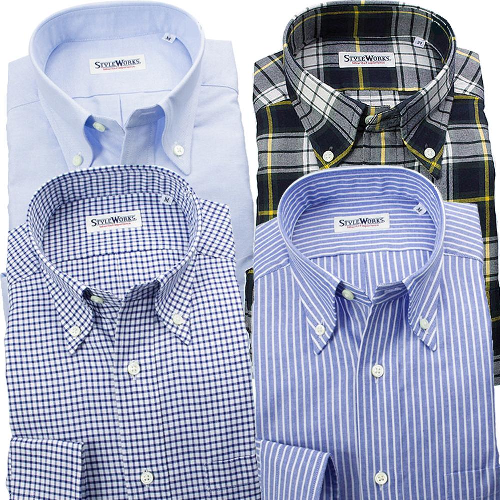 ブルーレーベル ボタンダウン カジュアルドレスシャツ ワイシャツ シャツ メンズ 4着セット アメリカン 元上代 52,920円 約43%OFF