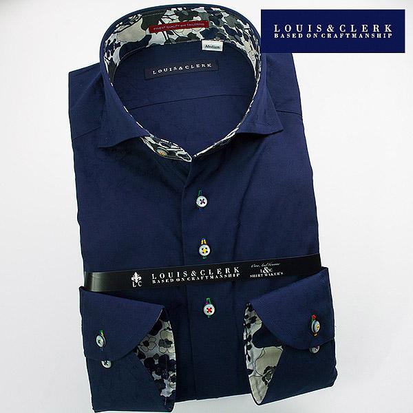 1510 fs3gm 国産長袖綿100ドレスシャツ スリムフィット ホワイトジャガード幾何柄 ワイドカラー
