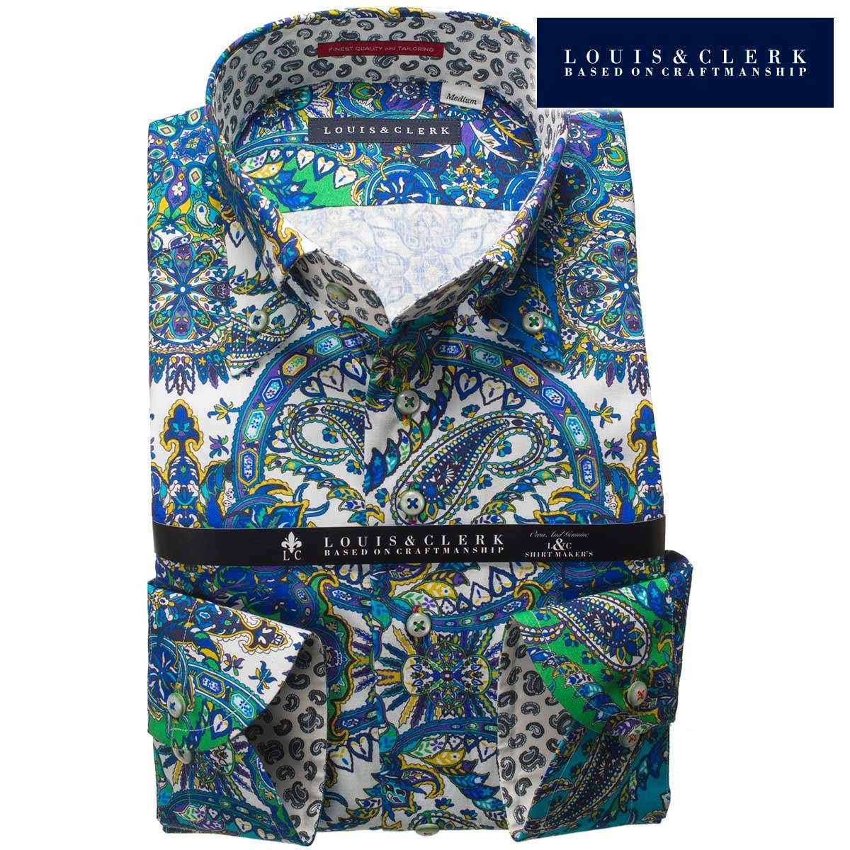 1805 国産長袖綿100ドレスシャツ ボタンダウンカラー ブルーペイズリー総柄プリントメンズ fs3gm