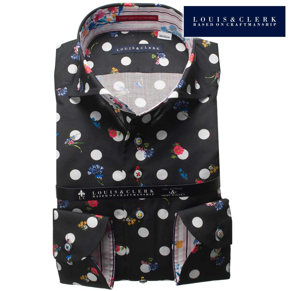 1805 国産長袖綿100ドレスシャツ カッタウェイワイドカラー クロベース・ホワイトドット+花柄プリントメンズ fs3gm