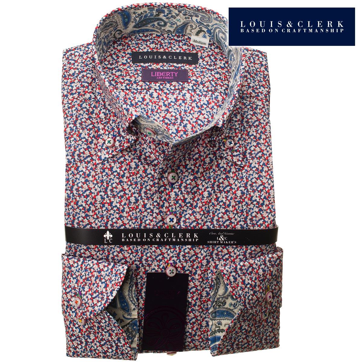 1807 リバティプリント タナローン 国産長袖綿100ドレスシャツ コンフォート ボタンダウン 小花柄 青赤白メンズ fs3gm