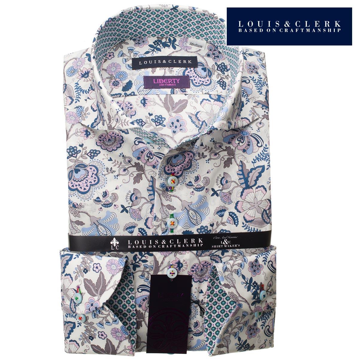 1807 リバティプリント タナローン 国産長袖綿100ドレスシャツ コンフォート カッタウェイワイドカラー フラワーメンズ fs3gm