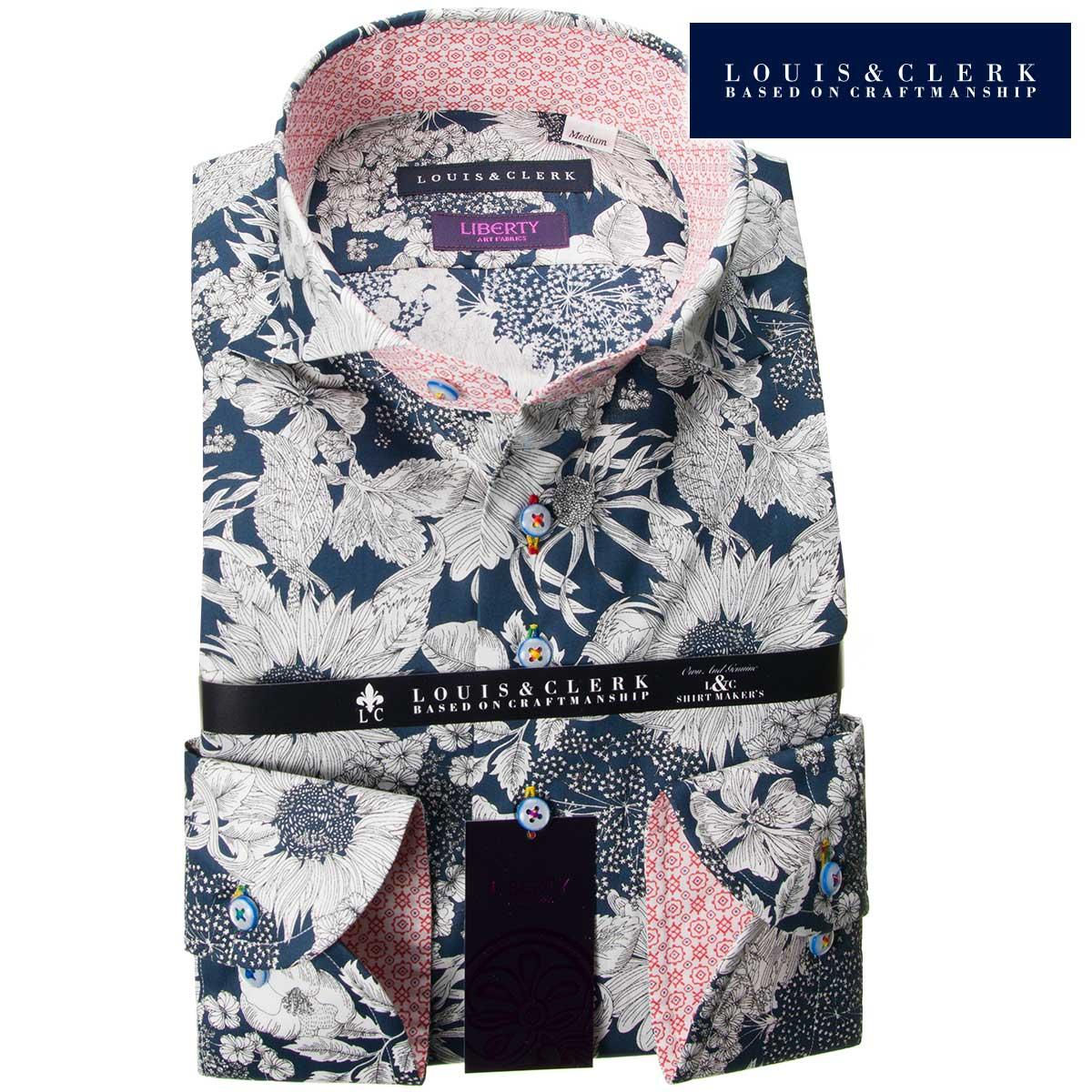 1808 リバティプリント タナローン 国産長袖綿100ドレスシャツ コンフォート カッタウェイワイドカラー ボタニカルメンズ fs3gm