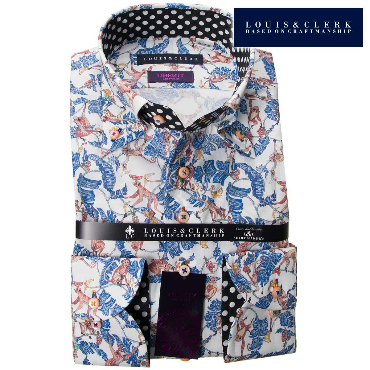 c6b165d3d1a 1808 Liberty print shelf loan domestic production long sleeves cotton 100 dress  shirt comfort monkey banana light blue men fs3gm who are button-downed