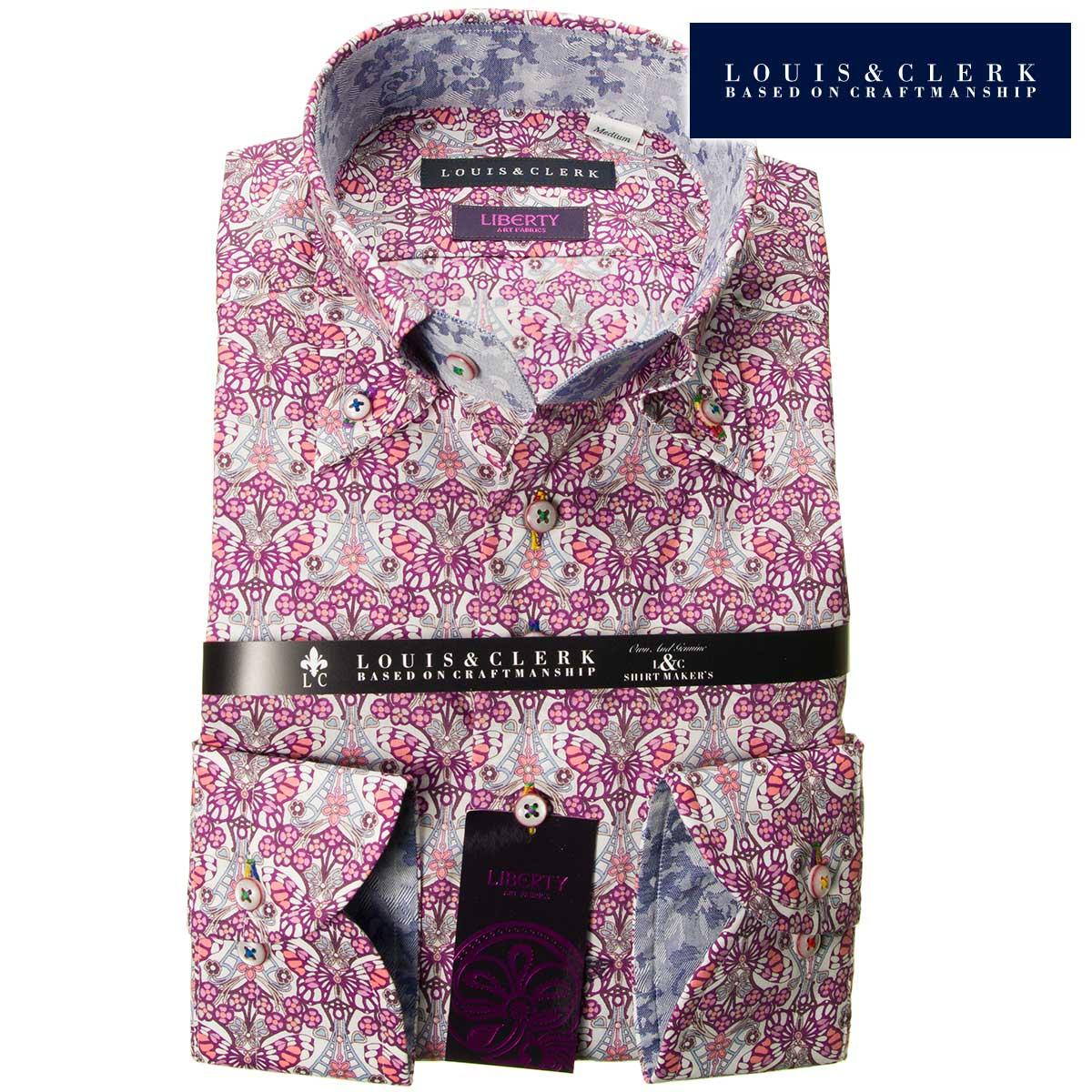 1808 リバティプリント タナローン 国産長袖綿100ドレスシャツ コンフォート ボタンダウン 白 紫 蝶 バタフライメンズ fs3gm