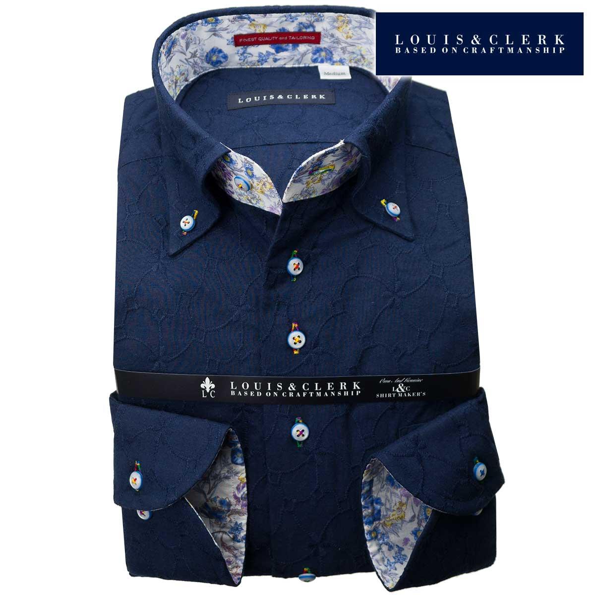 1901 国産長袖純綿ドレスシャツ コンフォート ボタンダウン ダークネイビー レース タイル柄・花柄メンズ fs3gm 派手 個性的 オシャレ