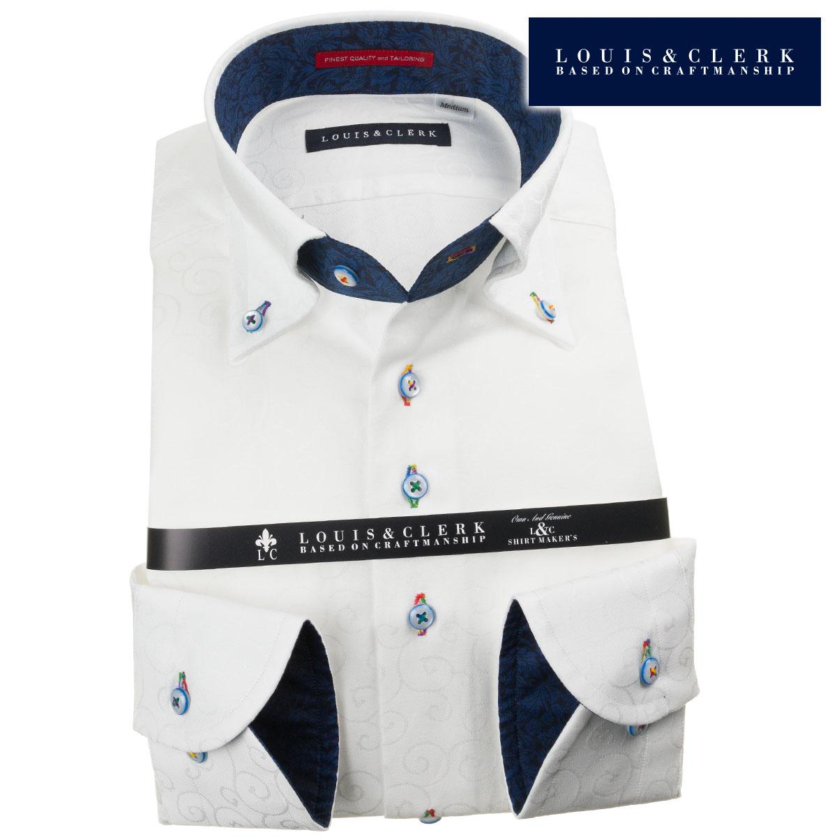 ドレスシャツ ワイシャツ シャツ メンズ 国産 長袖 綿100% コンフォート ボタンダウン ホワイト ジャガード織唐草柄 1907 派手 個性的 オシャレ