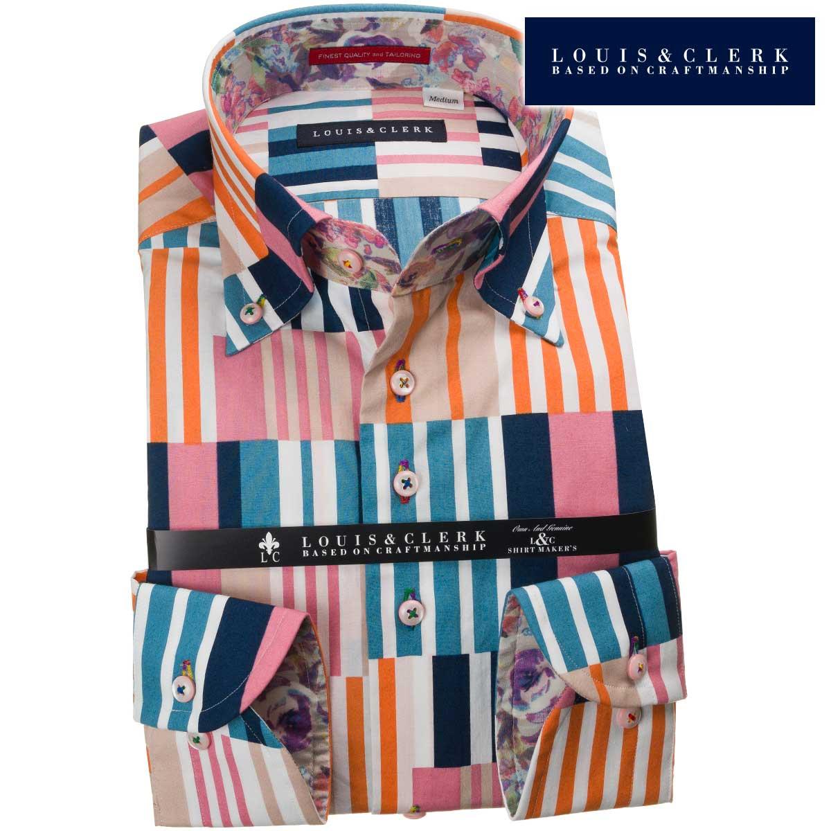 国産長袖綿100%ドレスシャツ コンフォート ボタンダウンカラー クレイジーパターン風マルチカラーストライププリント 1906メンズ fs3gm 派手 個性的 オシャレ