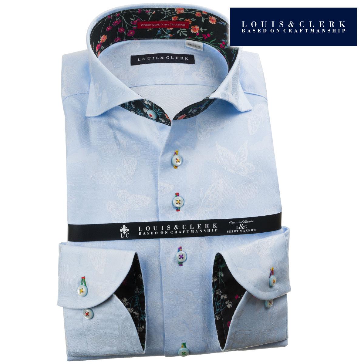 ドレスシャツ ワイシャツ シャツ メンズ 国産 長袖 純綿100% コンフォート カッタウェイワイドカラー スカイブルー ジャガード織柄 蝶 バタフライ 1908