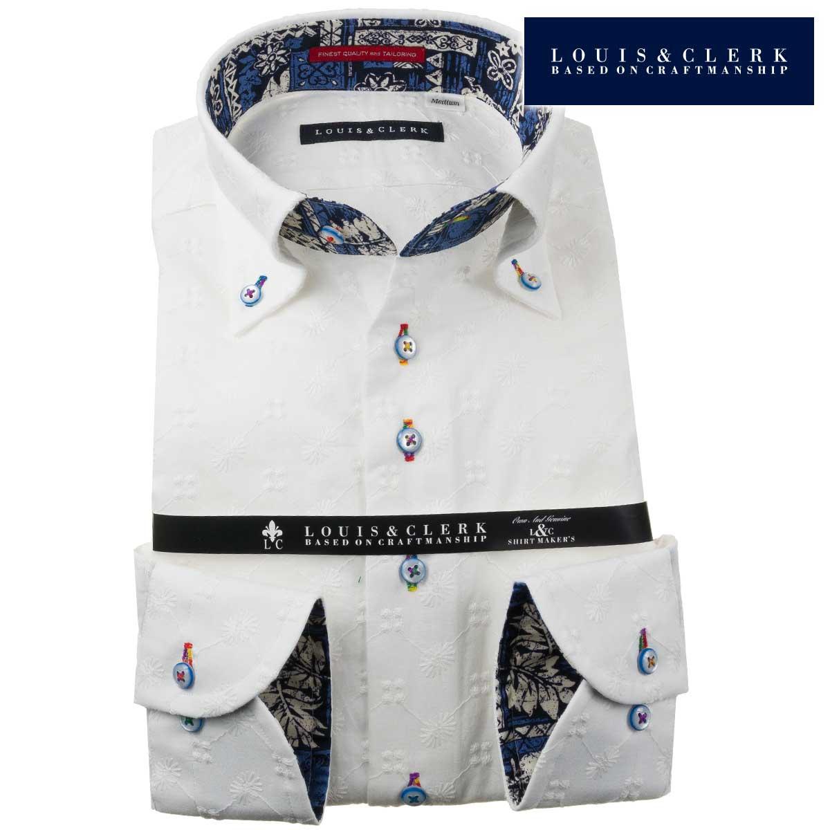 ドレスシャツ ワイシャツ シャツ メンズ 国産 長袖 綿100% コンフォート ボタンダウン 白 ホワイト レース ジグザク フラワードット 1910 fs3gm