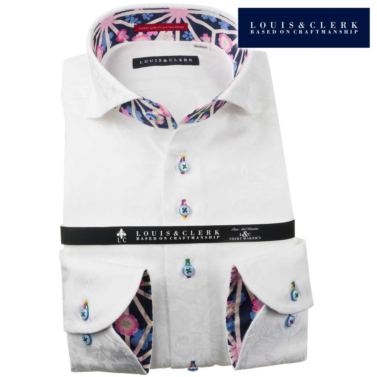 ドレスシャツ ワイシャツ シャツ メンズ 国産 長袖 純綿100% コンフォート カッタウェイワイドカラー ホワイト ジャガード織ペイズリー&牡丹柄 fs3gm