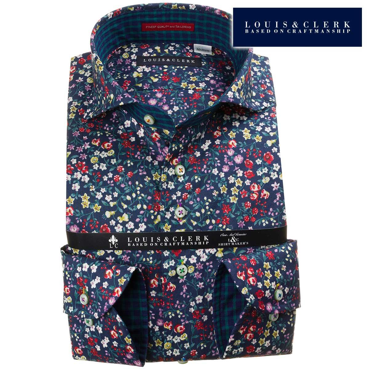ドレスシャツ ワイシャツ シャツ メンズ 国産 長袖 純綿100% コンフォート カッタウェイワイドカラー ネイビー ボタニカルプリント 花柄 1909 fs3gm