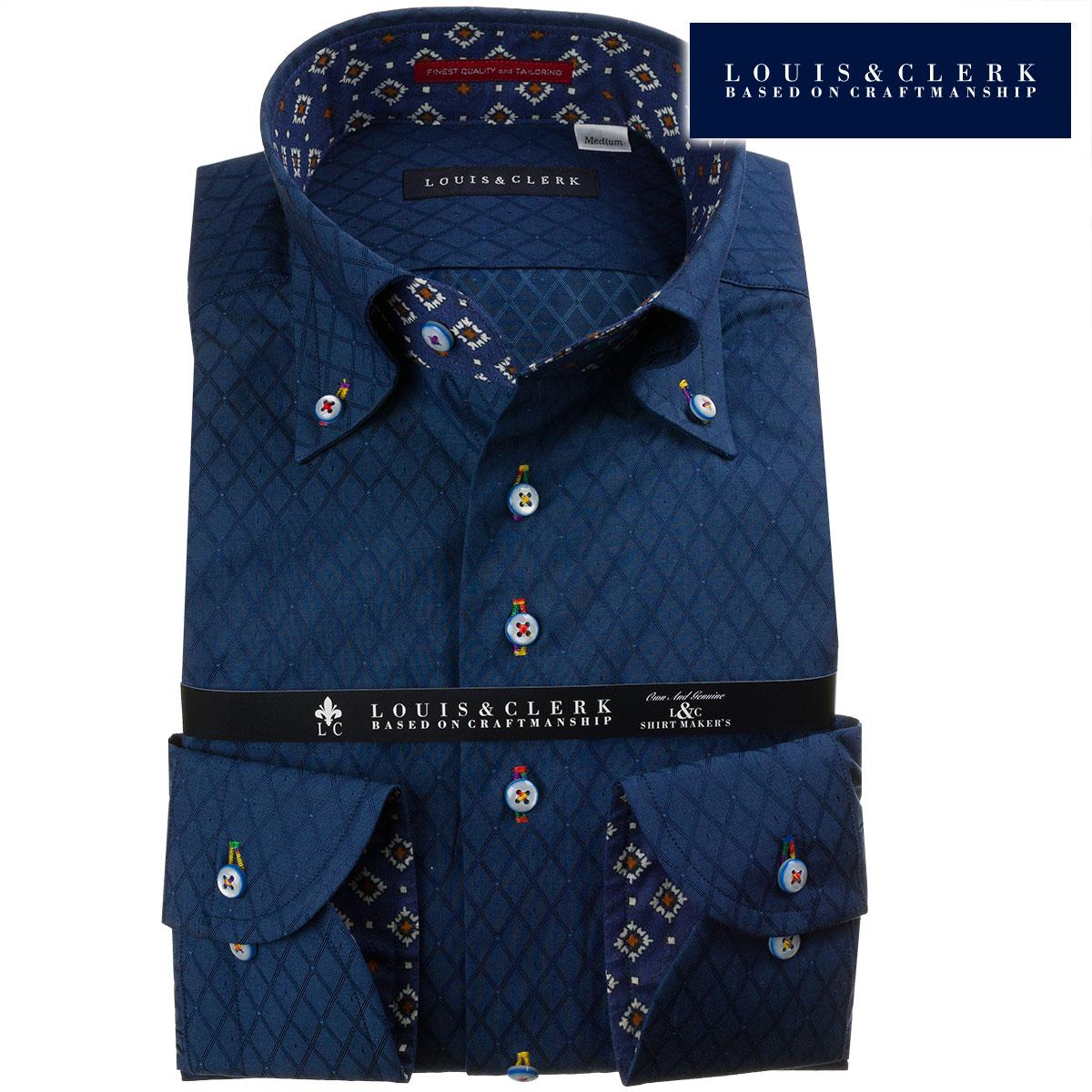 ドレスシャツ ワイシャツ シャツ メンズ 国産 長袖 ボタンダウン コンフォート 綿100% 紺 ネイビー ジャガード織ダイアチェック ピンドット fs3gm