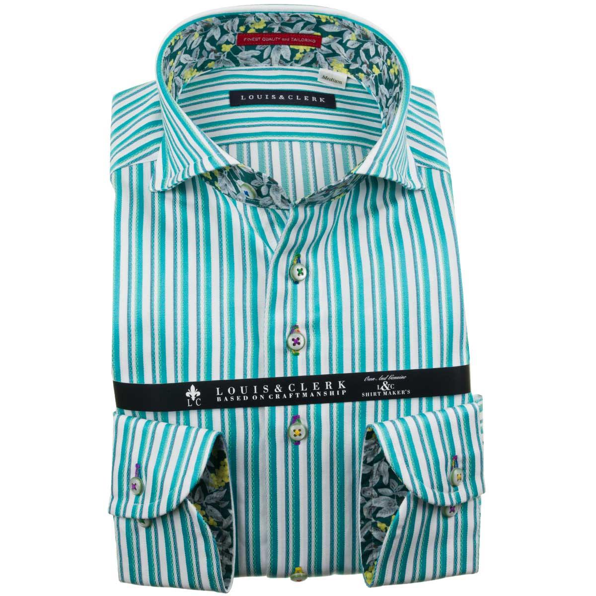 ドレスシャツ ワイシャツ シャツ メンズ 国産 長袖 純綿100% コンフォート カッタウェイワイド パステルグリーン オルタネイトマルチストライプ 1910 fs3gm